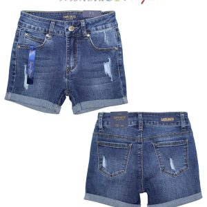 Girls Cut Up Folded Denim Shorts