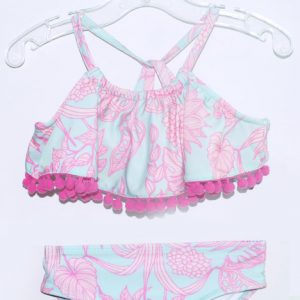 Flower Printed Blue & Pink Girls 2pc Swimsuit