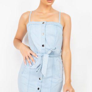 Belted Button-Down Denim Dress