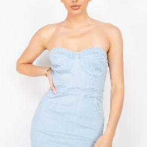 Cinched Tube Denim Mini Dress