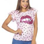 Ruffle Blouse W/Lips