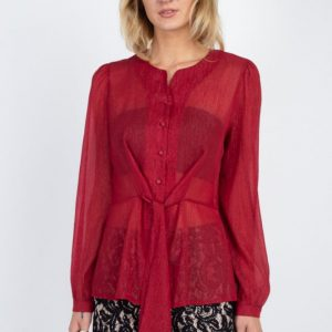 Front Tie Long Sleeve Blouse